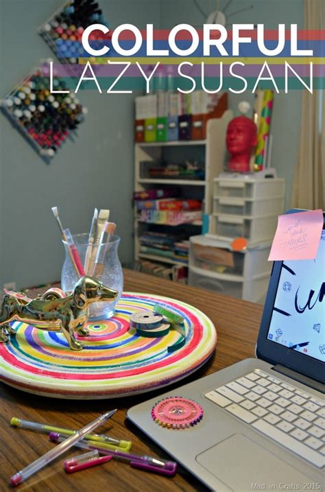 COLORFULLY PAINTED LAZY SUSAN - Mad in Crafts