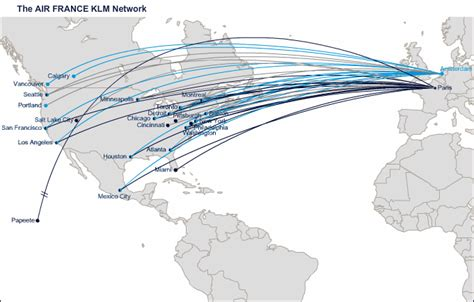 Air France route map - North America