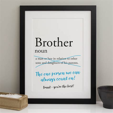 Personalised Brother Dictionary Print By A Is For Alphabet