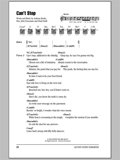 Can't Stop Sheet Music | Red Hot Chili Peppers | Guitar