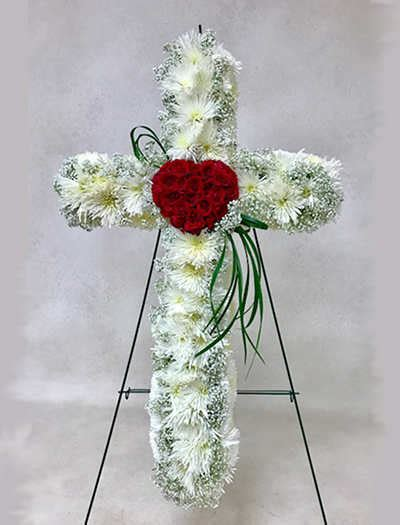 Bleeding Heart Floral Cross for Sympathy   Cherry Blossoms