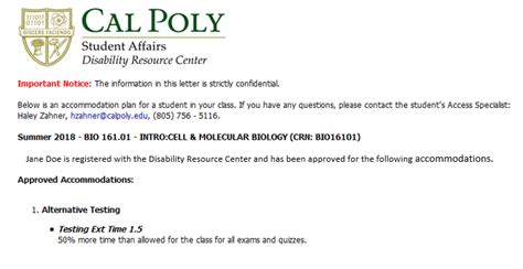 Student Accommodation Letter for Faculty - Disability