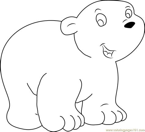Happy Little Polar Bear Coloring Page - Free The Little