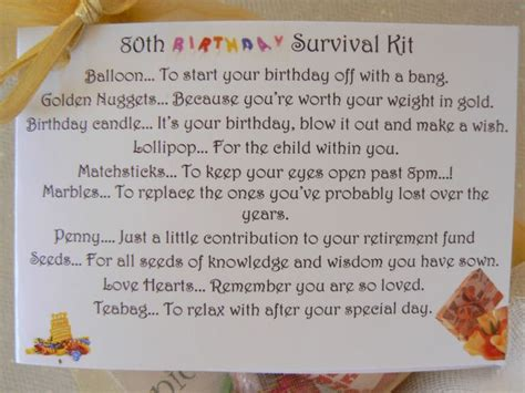60th, 70th, 80th Birthday Survival Kit, Novelty gift and