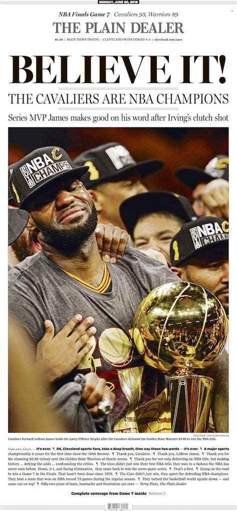 Cleveland Cavaliers championship front page: The Plain