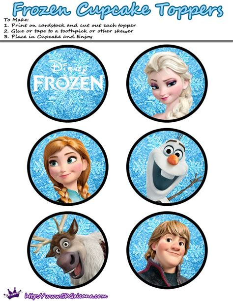 Printable cupcake toppers   Frozen Party   Pinterest