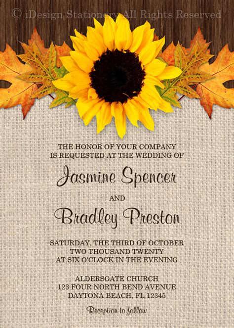 Fall Sunflower Wedding Invitations With RSVP Cards DIY