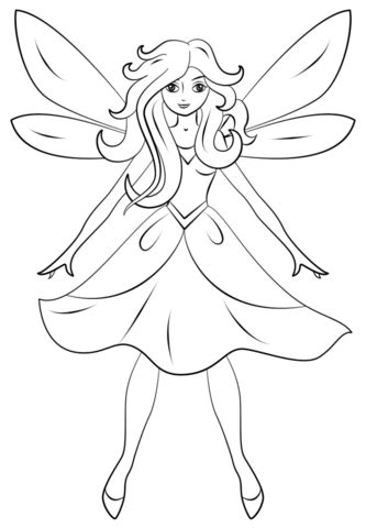 Beautiful Fairy coloring page | Free Printable Coloring Pages