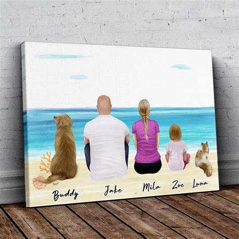 Beach Sand Personalized Family Wrapped Canvas