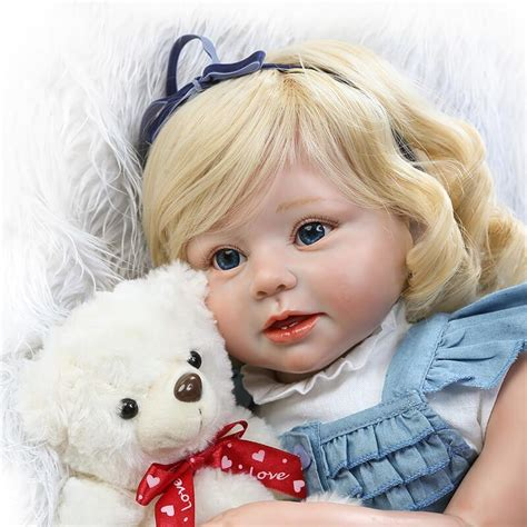 """28"""" Silicone Baby Girl Diana with Bear Reborn Doll Cheap"""