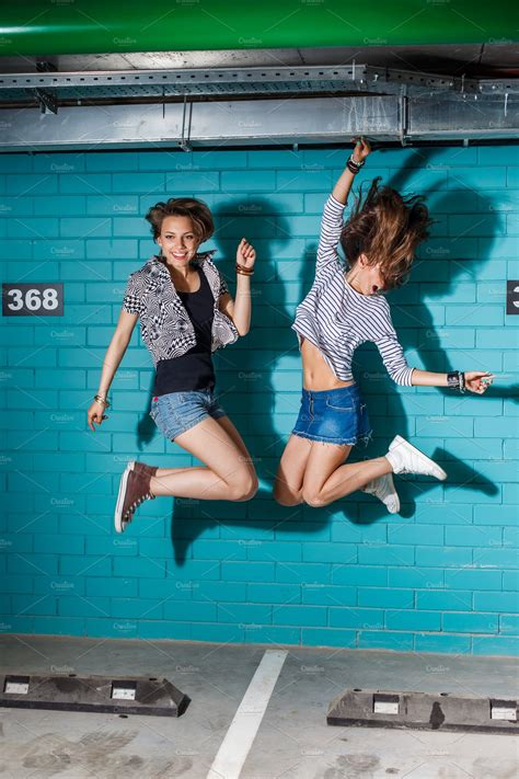 Young people jump and have fun