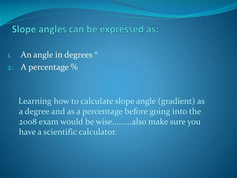 PPT - Calculation of slope angles PowerPoint Presentation