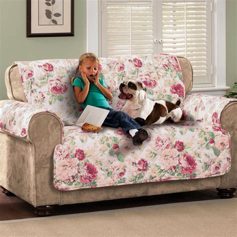 English Floral Tea Rose Quilted Furniture Protectors